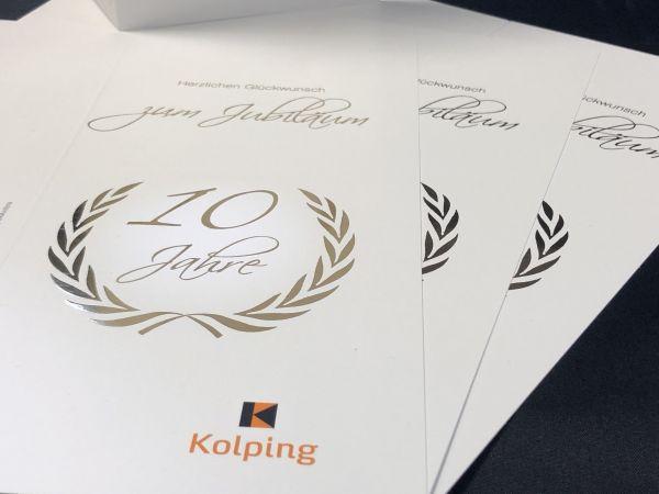 10er-Set Jubiläumskarte mit Veredelung, inkl. Umschlag