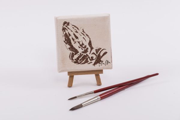 """Kolping-Kunst im Quadrat – Motiv """"betende Hände"""""""
